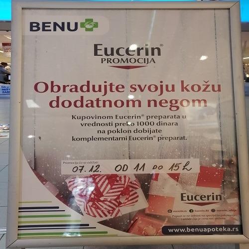 U BENU apoteci kupovinom Eucerin preparata u vrednosti preko 1000 din dobijate poklon!